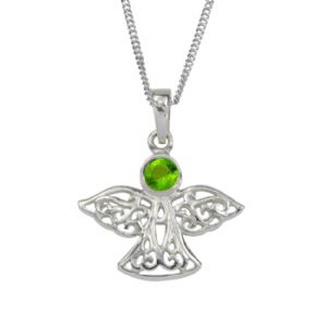 Celtic Angel Silver Birthstone Pendant August - Peridot 9040